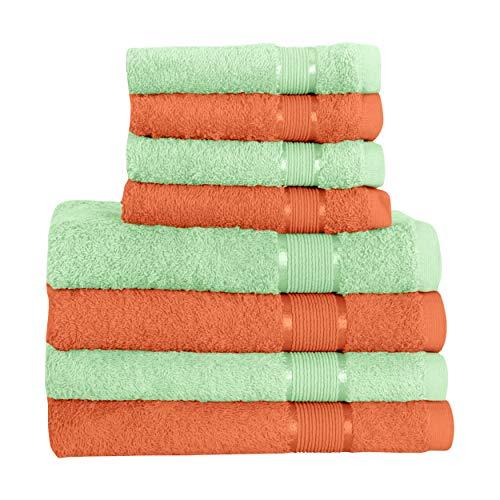 Mixibaby Juego de toallas (8 piezas, 4 toallas de sauna, 4 toallas de mano, color verde claro con combinación de colores, color: marrón claro