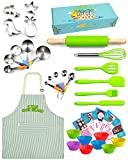 Kids Baking & Cooking Gift Set – 34 Piece Full-Size Real Baking Supplies for Junior Chefs - Stainless Steel & Silicone Baking Set for Girls & Boys with Adjustable Apron Kids Cook Island