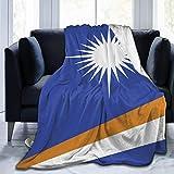 RROOT Root Decke Marshall-Inseln Flagge, Samt-Decke, gemütliche Polyester-Bett-Decke, gesteppt, hautfre&liche Fleece-Decke, waschbar, Überwurf, Teppich für Zuhause, Herbst, Winter, Frühling