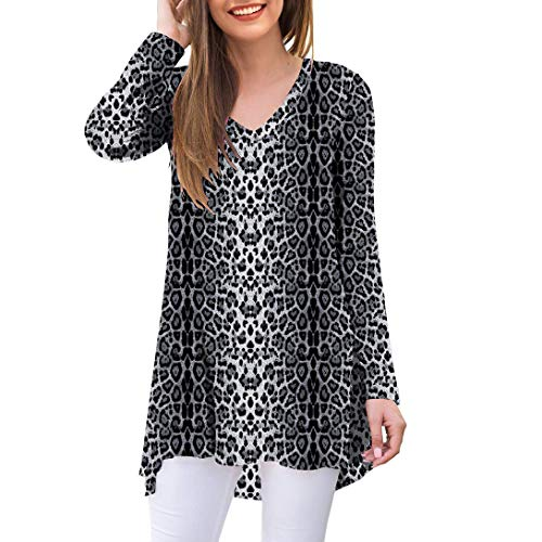 AWULIFFAN Women's Fall Long Sleeve V-Neck T-Shirt Tunic Tops Blouse Shirts (Snow Leopard,Small)