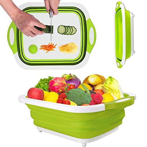 Tabla de cortar plegable para cortar bloques de silicona con tapón de drenaje, cesta para lavar frutas (verde)