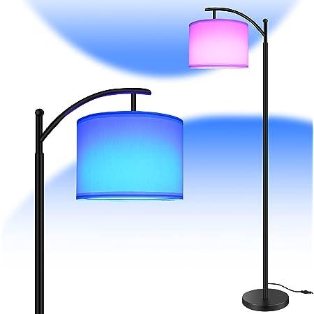 Lampadaire LED RGB, Bomcosy 15W RGBW Lampadaire sur Pied Salon Réglable, Lampe LED Pied Tactile, Lampadaire LED avec Lampe de Lecture, Réglable, pour Salon Bureau Chambre