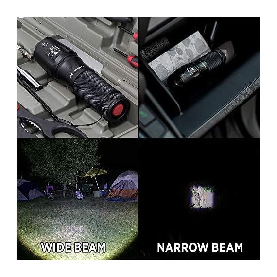 GearLight LED Tactical Flashlight S1000 [2 Pack] - High Lumen, Zoomable, 5 Modes, Water Resistant Light - Camping… 7 Ultra Bright & Long-lasting - Easily light up an entire room or focus in on objects up to 1000 feet away! 10 times brighter than old incandescent lights. Conveniently powered for hours with 3 AAA batteries or a single rechargeable battery. (Batteries are not included) Compact, Adjustable Focus, & Five Modes - 5 Useful Setting and wide-to-narrow beam zoom makes it ideal for use around the house, dog walking, or camping. It is compact enough to fit in your pocket, backpack, or purse allowing for easy storage and quick access. Water Resistant & Virtually Indestructible - Built for rough handling, this flashlight can survive a 10-foot drop or being temporarily submerged under water. You can even freeze it or run it over with a truck, and it will still work! Suitable for use in rain, snow, or emergency situations.