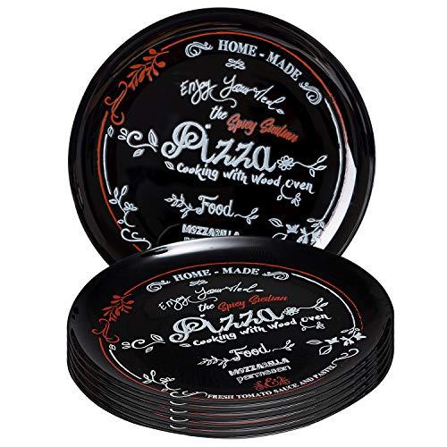 MamboCat - 6 piatti per pizza con motivo nero, Ø 32 cm, set di 6 piatti rotondi con scritta in rosso e bianco, piatto da portata per 6 persone, per pizza e cucina, accessori per gastronomia