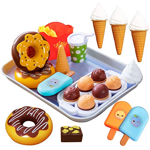 FUNERICA Pretend Play Ice Cream and Desserts Toy Food Set with Realistic Fake Donuts, Ice Pops, Cupcakes, Fries, and Tray, Kids Kitchen Accessories Set, for Toddlers, Boys and Girls
