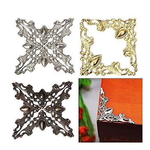 XYBW 20PCs Silber Bronze Gold Antiquität Holzetui Jewelry Box Buch Fotoalbum Corner Dekor-Schutz (Color : Gold Color)