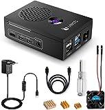 LABISTS Caja para Raspberry Pi 4, Interruptor de On/Off de 5.1V 3A, Ventilador, Cable Micro HDMI, 3 Disipadores de Calor, Destornillador Magnético, Solo es Compatible con Raspberry Pi 4 Negro