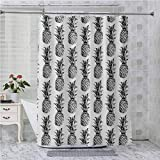 Cortinas de ducha, artísticas dibujadas a mano con temática tropical vintage estilo pino fruta, 96 pulgadas de largo impermeable decorativo baño, negro gris blanco