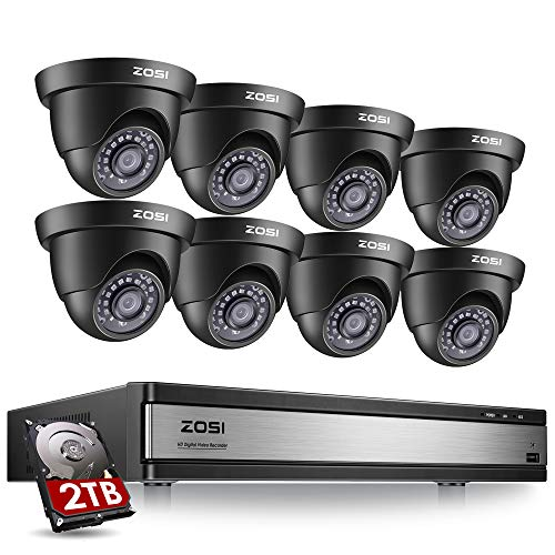 ZOSI 16 Channel Security Camera System 1080p, 1080N H.265+ Hybrid 16 Channel DVR with Hard Drive 2TB and 8 x 1080p CCTV Dome Camera Outdoor Indoor, 80ft Night Vision, 90 View Angle, Remote Access