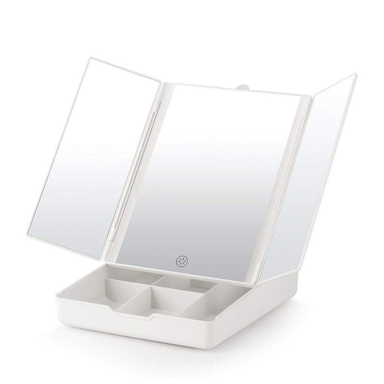 マザーランド広くグラマーカウンタートップバニティミラー 取り外し可能な7倍の拡大スポットミラー付きデュアル電源を調光ライトとタッチスクリーン付きポータブル卓上化粧台ミラー (Color : White, Size : 24.5x20x7.4cm)