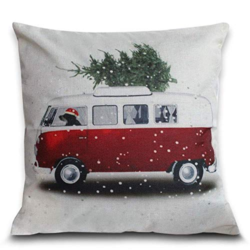 Petite Lili Cushion Cover with Christmas Design Decorative Pillowcase-Bed/Kids/Sofa 18 x 18 inch, (Red Old Car Christmas Tree) (Camper Van with Christmas Tree)