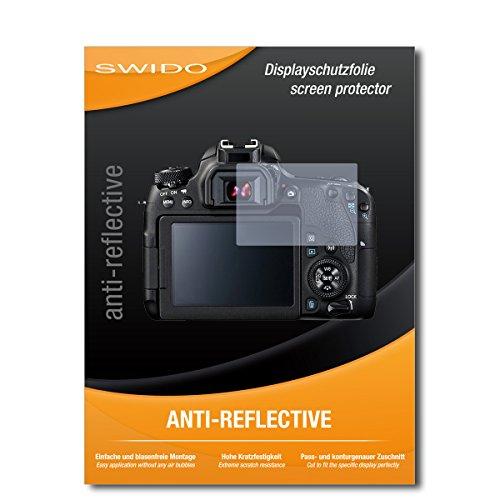 SWIDO Schutzfolie für Canon EOS 77D [2 Stück] Anti-Reflex MATT Entspiegelnd, Hoher Härtegrad, Schutz vor Kratzer/Displayschutz, Displayschutzfolie, Panzerglas-Folie