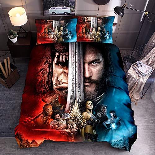 YOMOCO Bettwäsche Set - Bettbezug und Zwei Kissenbezug,Mikrofaser, 3D Digital Print Dreiteilige Set,Warcraft (Double 200x200cm)