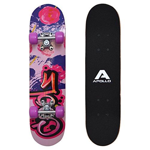Apollo Kinder Skateboard, kleines Komplett Board mit ABEC 3 Kugellagern und Aluminium Achsen - Holzboard - Coole Designs für Kinder und Jugendliche - Cruiser Boards für Mädchen und Jungen