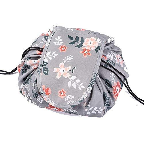Slouchy Drawstring Make-Up Bag Portable Large Travel Make-Up Bag Storage Bag for Female Girls Organizer Multi Style 24 * 20CM (Light grey flowers)