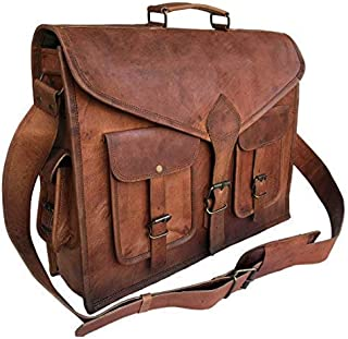 KPL 18 Inch Rustic Vintage Leather Messenger Bag Laptop Bag Briefcase Satchel Bag