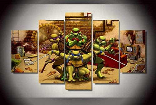 ZZXINK 5Panel Printed Teenage Mutant Ninja Turtles Oil Painting Room Decor Print Poster Picture Canvas Living Room Background