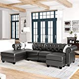 kupet Modern 4 Seat Living Room Set, Sectional Sofa with Storage Ottoman&Chaise Lounge, PU Leather L-Shape Couch with Tufted Button&Nail Headed&Rolled Arms, Chesterfield Home Furniture, 116', Black