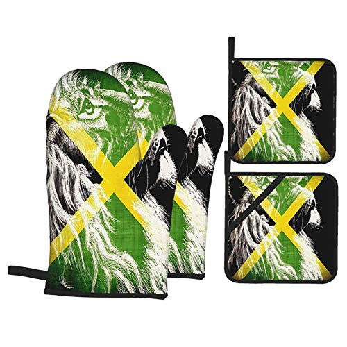 Juego de 4 manoplas de horno y soportes para ollas, diseño de bandera de Jamaica, Rey León, Jamaica, Rasta Rastafarian, antiquemaduras, guantes para barbacoa