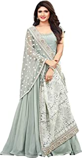 Ethnic Yard Women's Faux Georgette Anarkali Embroidred Semi Stitched Gown