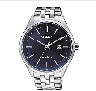 Citizen 西铁城 男士石英手表 蓝色模拟显示表盘 银色不锈钢表带 BM7251-53L