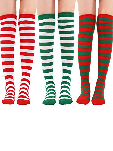 Tatuo 3 Pairs Long Striped Socks Knee High Stocking for St. Patrick's Day Irish Cosplay Party Costumes(Red Green, Red White, Green White)