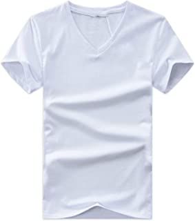 Summer V Neck Cotton Short Sleeve Tops Casual Slim Fit Classic Brand t Shirts