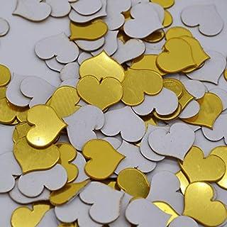100pcs / Lot 2cm Mini 3D acrílico Espejo Pegatinas de Pared corazón/Forma Redonda Pegatinas calcomanía Mosaico Espejo Efecto salón decoración del hogar - corazón Oro 100pcs