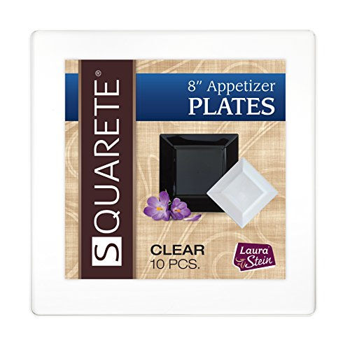 squarete 20,3cm Zoll Clear für Antipasti–Salat Party Teller quadratisch Hardcase Kunststoff Elegant Einweg 10Quadrat Clear Salat Teller Pro Paket