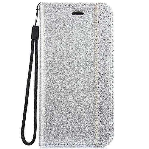 Ukayfe Custodia Compatibile con Samsung Galaxy S8, Flip Custodia Libro Pelle PU con Lusso Bling Glitter Diamante Brillante Cristallo Strass Antiurto Bumper Magnetico Flip Cover Protettiva-Argento