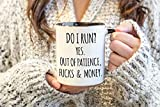Funny Quote Mugs with Sayings Sarcastic Coffee Cup Profanity Words Cussing Mature Adult Do I Run Yes Out of Patience Fucks and Money