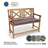 Homeoutfit24 Sun Garden 1-Stück Bankauflage Sylt in Grau Sitzkomfort auf höchstem Niveau,...