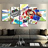 HAOQIPA Decoracion Salonmodernos 5 Piezas Lienzo murales Pared hogar Pasillo Decor Abstracto Lámina enmarcado HD Innovador Regalo Juego de SUPER MARIO PARTY/150*80CM