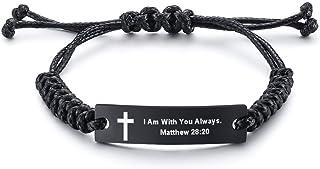 کتاب مقدس مذهبی Unisex نقل قول Faith مسیحی مقدس آیه بند ناف فولاد ضد زنگ الهام بخش ID دستبند برای مردان زنان