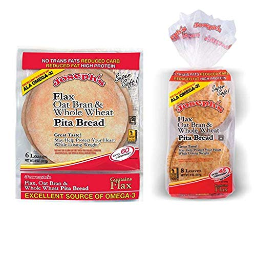 Joseph's Middle East Low Carb Pita and Mini Pita Combo Pack - Reduced Carb/Flax, Oat Bran & Whole Wheat Pita Bread and Mini Reduced Carb/Flax, Oat Bran & Whole Wheat Pita Bread - Value 2 Pack