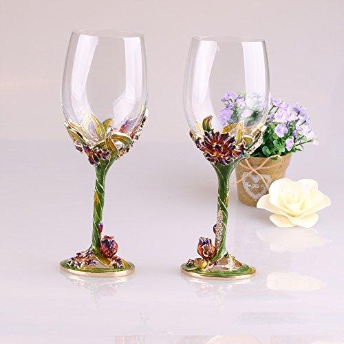 JARONG Vin Rouge Cristal Cup Set Metal Craft Gifts,Greenx2