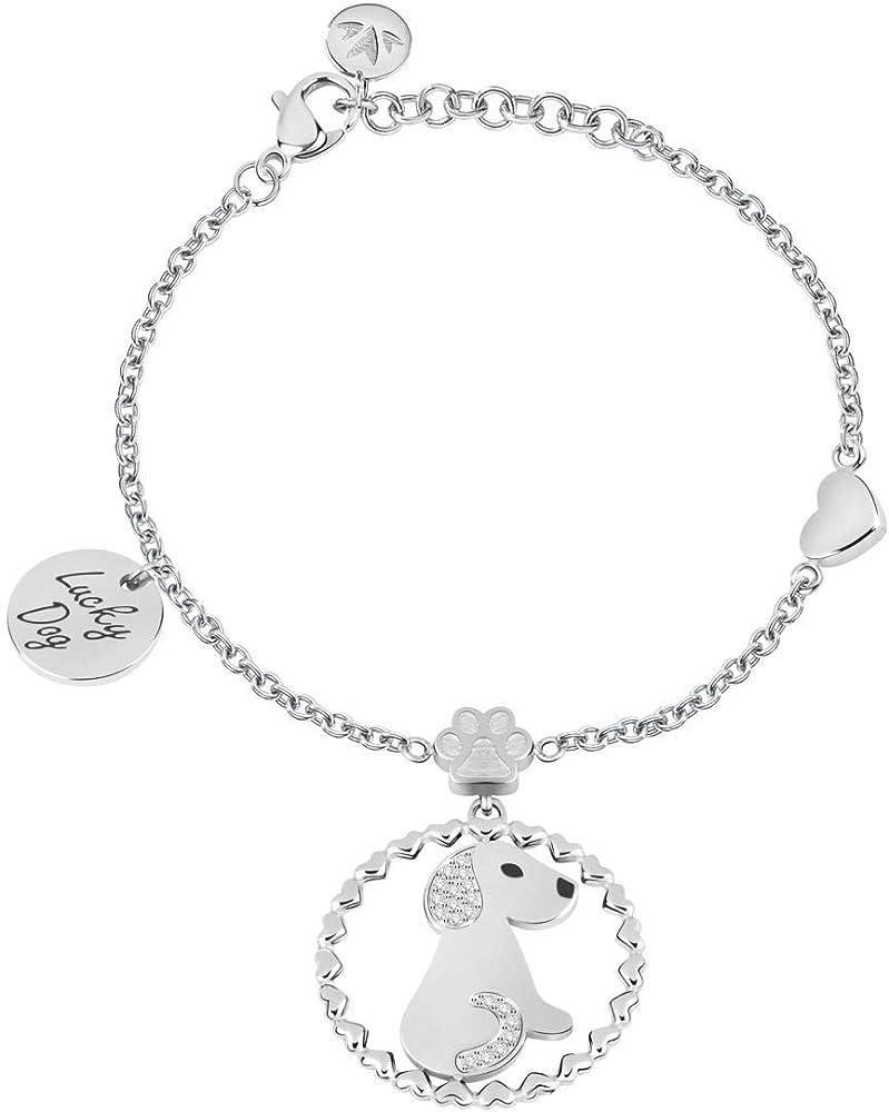 Morellato, bracciale da donna, collezione talismani, in acciaio e pietra,con ciondolo SAQE09