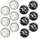 Black & White Granite Fridge Magnets, 12 Pcs Round Glass Refrigerator Magnet Pack, Beautiful Decorative Home Kitchen Magnet Pack, Stainless Steel Safe, Fun for Magnetic Office Cabinet and Whiteboards