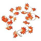 WINOMO 2 Stücke Herbstgirlande mit Ahorn Blättern Tischdeko künstlich Fensterdeko 2.4M