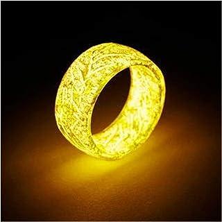 Fnsky - Anello luminoso luminoso che si illumina al buio, da uomo, gioiello creativo per compleanno, regalo per donne e uo...