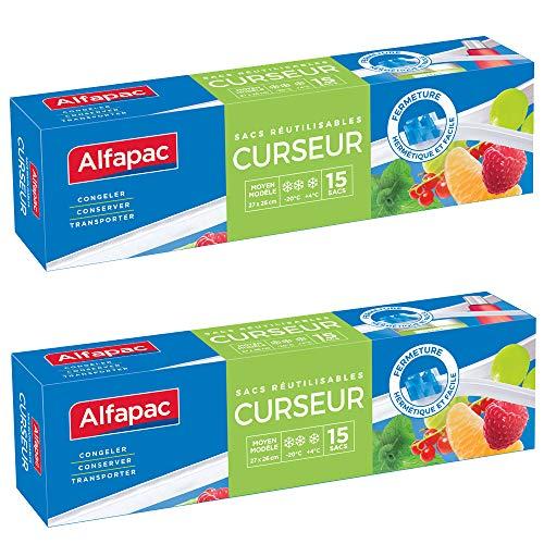 ALFAPAC - 15 sacs Curseur - Moyen modèle - Lot de 2 - Sacs de dimensions 26 x 27 cm