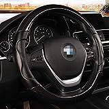 LLOOMMB Cubierta del Volante Cubierta de Volante de Coche Deportivo de Fibra de Carbono Micro Fibra de Cuero Tamaño M 38 cm para BMW X1 X3 X5 X6 E36 E39 E46 E30 E60 E90 E92Negro