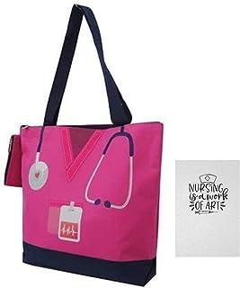 حقيبة حمل للرضاعة العاملين في الرعاية الصحية   تتضمن عنصرين - حقيبة قماشية مع محفظة تغيير ومجلة مبطنة من 100 صفحة