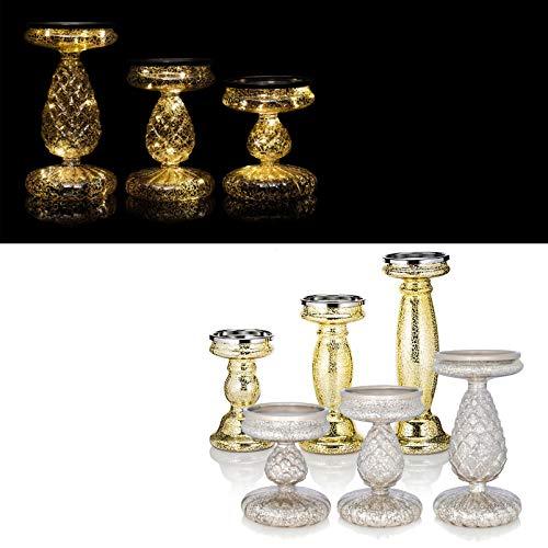 DbKW (Silber) 3er Set Kerzenständer/Kerzenhalter mit LED-Beleuchtung und Timer. Wählbar in Gold oder Silber, Geeignet für Stumpenkerzen