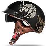 Moto Medio Casco de La Motocicleta,Retro Harley Half Cascos Certificado DOT/ECE Adultos Casco de La Bici Casco del Viaje del Estilo Crucero Bicicleta Chopper Vespa Para Hombres N,L