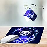 Gaming Mouse Pad,Blue Butterfly and Panda Wearing Headphones Non-Slip Rubber Mouse Mat,Rectangular Mouse Pad for Laptop,Computers & Office.Matching Microfiber Glasses Cloth for Glasses & Screens.