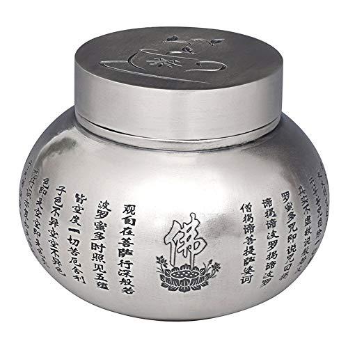 CRTTRC Potación de té de Plata Pura Pie Puro Hecho a Mano Silver 999 Corazón a través del Tetera Caja de té sellada en casa