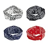 DINPREY Assorted Paisley Print Wide Bandana Knot Headbands Criss Cross Head Wrap Hair Band (4 Colors Pack A)