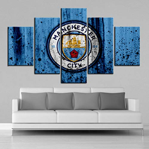 Alasijia Modern HD Creative Manchester City Posters Football Canvas Paintings Wall Art Prints Pictures Boys Room Sports Wall Decor Frame-20CMx35/45/55CM
