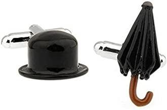 SS Black Chaplin Hat and Umbrella Copper Cufflinks for Men